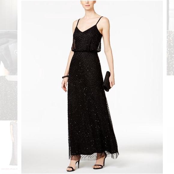 Adrianna Papell Dresses | Black Beaded Blouson Gown | Poshmark